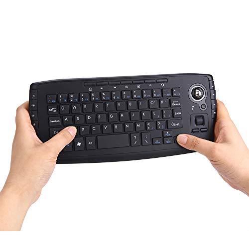 Mini Wireless Tastatur, Tragbare Dual Modi Wireless Multimedia Tastatur, 2.4 GHz Wireless Trackball Handheld Tastatur für Desktop Notebook Projektor Box TV PC HTPC IPTV PI 3 PS3 XBOX360