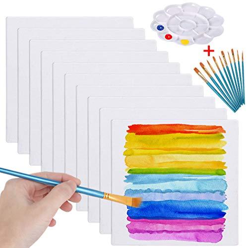 Legendog Paneles de Tablero de Lona, 10 piezas Tableros de Lienzo en Blanco para Pintar, Paneles de Lienzo para Pintura Acrílica con Juego de Pinceles y Paleta de Colores (20 * 20 cm)