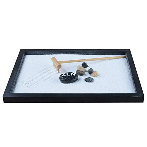 Tuneway Japanischer Karesansui Zen Tisch Garten mit Rassel Kieselsteine und Sand Dekoration Home Office – 21,5 x 17 x 2,6 cm