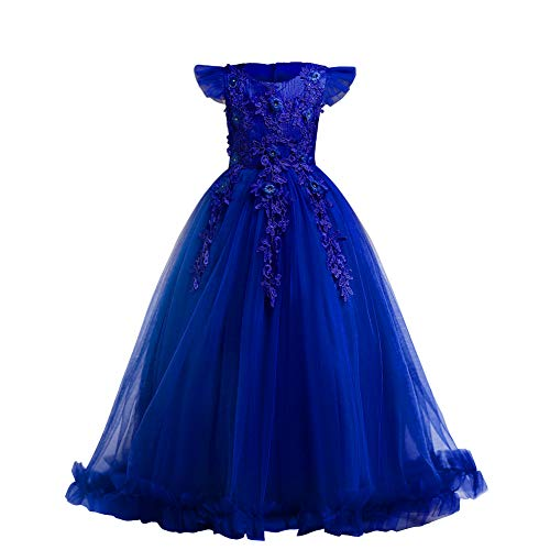 Flower Girls Dress Bridesmaid Wedding Pageant Party Princess Communion Floral Boho Vintage Lace Dance Maxi Gown for Kids Royal Blue 9-10 Years