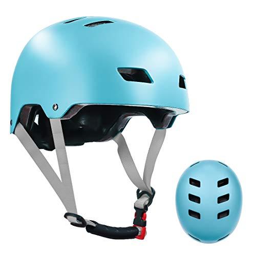 LANOVAGEAR Skaterhelm Fahrradhelm Kinderhelm Radhelm Sporthelm CE-Zertifizierung für Erwachsene, Jugendliche, Kinder für Fahrrad Skateboard Scooter (Eisblau, S)