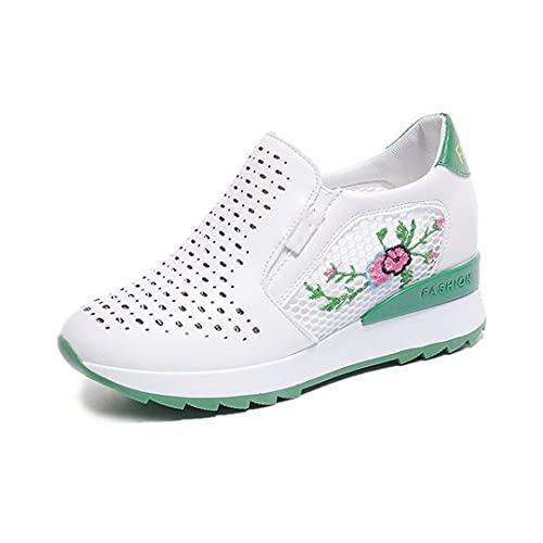 Oceansee Zapatillas de tacón de cuña Blanca Oculta Zapatos Casuales Zapatos de talón Alto cuñas Transpirables de Malla para Mujeres Verde 7