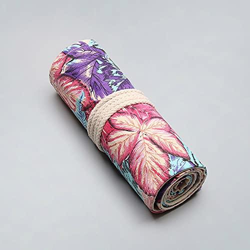 CNYG Estuche para lápices, hojas de arce impresas, gran capacidad de 12/24/36/48/72 agujeros, bolsa de almacenamiento para artista, escuela, oficina C01 20 x 46 cm