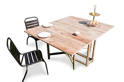 Hanjel Table Repas Belle Amsterdam - Bois Massif, Bois Ancien, Multi-usages, Esthétique intemporelle, Produit 100% Bois | Une Grande Table modulable pour Toutes Les Occasions - (L132 x H77 x P164 cm)