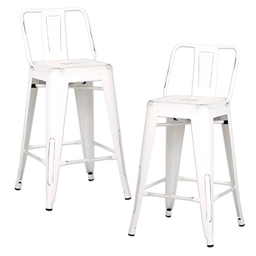 AC Pacific Modern Industrial Metal Barstool with Bucket Back and 4 Leg Design, 24' Seat Bar Stools (Set of 2), Distressed White Finish
