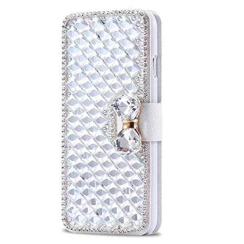 Omio for Samsung Galaxy Note 9 Wallet Case Luxury Bling Diamond Case for Galaxy Note 9 Cover with Stand Feature Sparkle Crystal Bowknot Shockproof Non-Slip Flip Cover for Galaxy Note 9 Case White