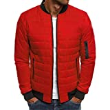 BIKETAFUWY Giacca da uomo, calda trapuntata, giacca invernale in pelliccia sintetica, leggera, imbottita, per attività all'aperto, Colore: rosso, M