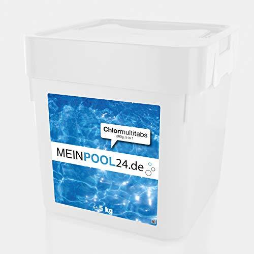 MEINPOOL24.DE 10 kg (2 x 5 kg) Chlor Multitabs 200 g 5 in 1 Pool mit 5 Phasen Pflegewirkung für sauberes und hygienisches Poolwasser
