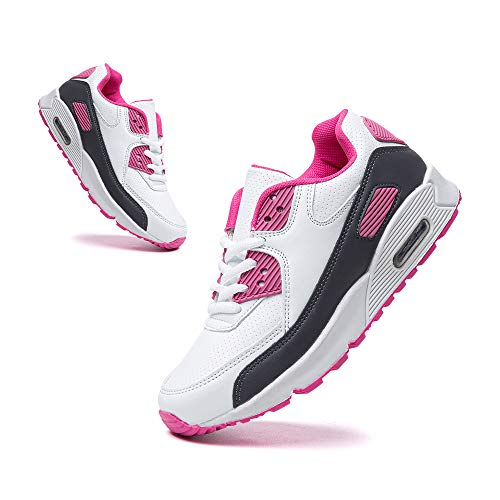 Hitmars Basket Enfant Respirantes Chaussures Running Garcon Filles Antidérapantes Chaussures de Course Mixte Enfant Rose Blanc Taille 34