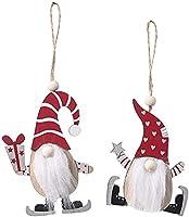 2個のクリスマスツリースウェーデンエンベリッシュメントをハンギングGnomeのエルク装飾飾りクリスマスホリデー木製のカットアウト HTZ