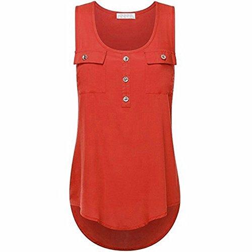 IHEHUA T-Shirt Damen Oberteile Blusen Tuniken Longshirt Lang Basic Rückenfrei Ärmellos Asymetrisch Sommer Alltag Casual Locker Tops Tunika(Rot,XL)