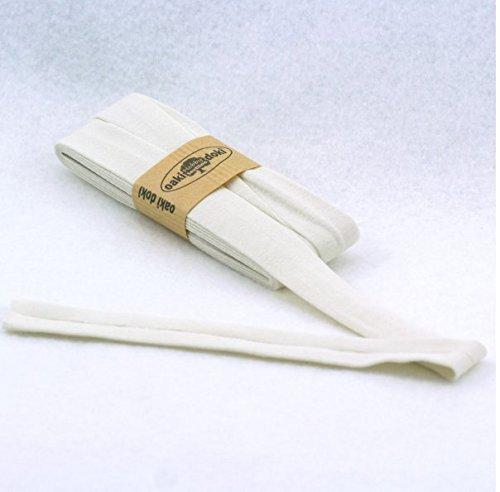Oaki Doaki Jersey-Einfassband 3m, elastisches Schrägband, Breite: auf 2cm vorgefalzt, cremeweiß(320)