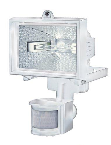 Brennenstuhl Halogenstrahler mit Bewegungsmelder Infrarot / Flutlicht ideal als Baustrahler (Außenstrahler IP44 geprüft, 120 Watt) Farbe: weiß