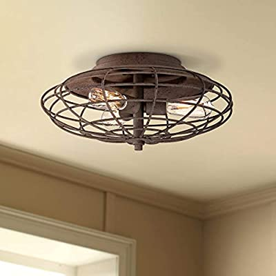 "Industrial Cage Dark Rust 18 1/2""W LED Ceiling Light Fixture"
