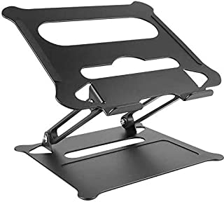 "MOUNTIFY Laptop Stand Notebook Foldable Holder, Ergonomic Adjustable Ventilated for All laptops Upto 15"" (Black)"