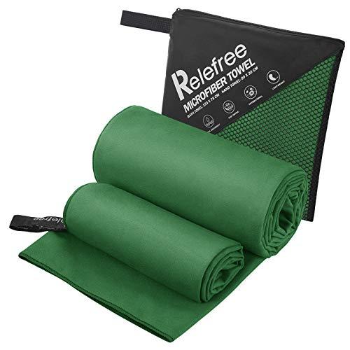 Relefree - Toalla de Microfibra de Secado rápido, 2 Unidades Compacto Absorbente Toallas de Grandes y pequeños de con Bolsa de Almacenamiento para natación Viaje Deporte Senderismo