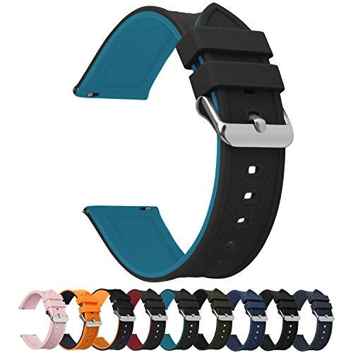 Fullmosa Silikon Uhrenarmband 20mm mit Schnellverschluss in 8 Farben, Regenbogen Weich Silikon Uhrenarmband mit Edelstahlschnalle,20mm Schwarz+Blau