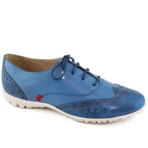 Womens Casual Comfortable Genuine Leather Lightweight Performance Spikeless Breathable Waterproof Cushion Support Laceup Golf Shoe Jeans Metallic Wash 9