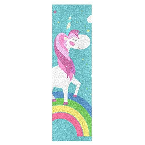 Dibujos Animados Arcoiris Bebé Unicornio Monopatín Papel de Lija Antideslizante Hoja Cinta de Agarre Lijas para Patineta Scooter Etiquetas engomadas (84 x 23 cm)