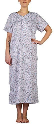 i-Smalls Damen Nachtwäsche Blumendruck Kurzarm Nachthemden Tasche Lange Plus Größen mit Lila Augenmaske (2XL) Grey Dainty