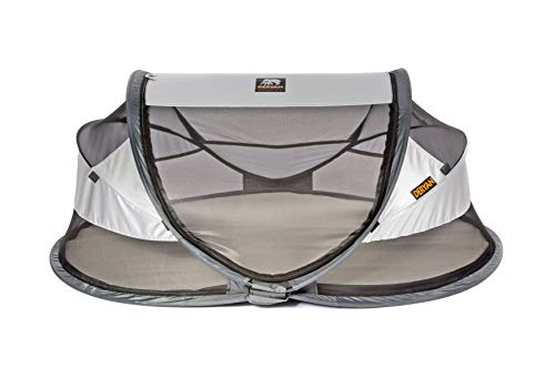 Deryan travel cot / travel cot Baby Luxe travel tent including cotton cover with zipper, self-inflatable air mattress and carrying bag with pop-up built within 2 seconds, Silver