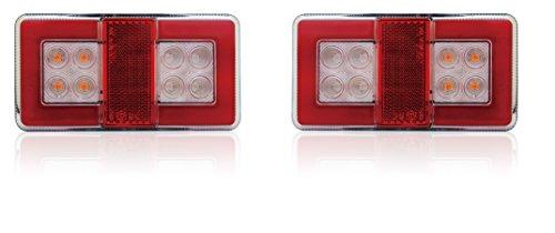 Een set van 2 stuks led-achterlichten voor vrachtwagens, aanhangers, camper, tankwagen, 12/24 V, ECE IP67 goedgekeurd, stof en waterdicht.