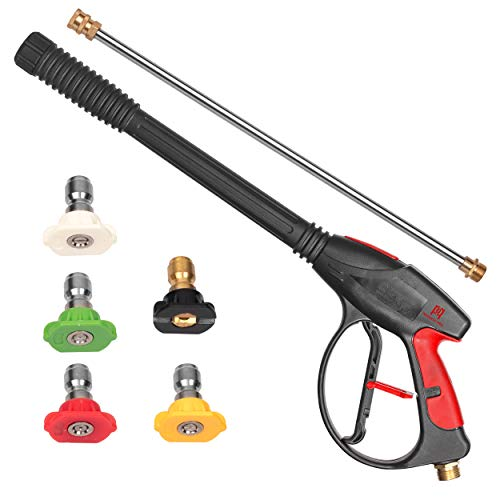 PP PROWESS PRO High Pressure Washer Gun 4000 PSI M22 x 14mm Inlet Fitting   21 Inch Extension of Pressure Washer Wand & 5 Quick Connect Nozzles
