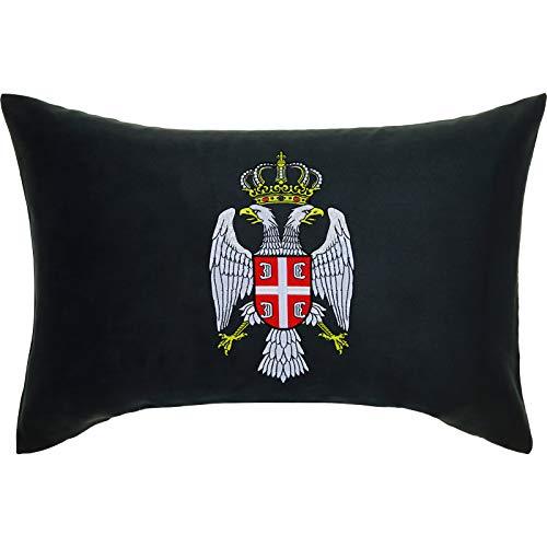 SERBIEN Wappen Adler Krone PREMIUM Kissen mit Bezug 40x60cm Flagge Serbia Eagle Dekokissen und Füllung Zierkissen SCHWARZ Fahne Belgrade Landeswappen Crown Couch/-Sofakissen groß Polster