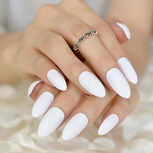 CLOAAE 24 Amazing Nail Art Design Tips Delicate Eraser White False Nails Shape Pointy Manicure DIY