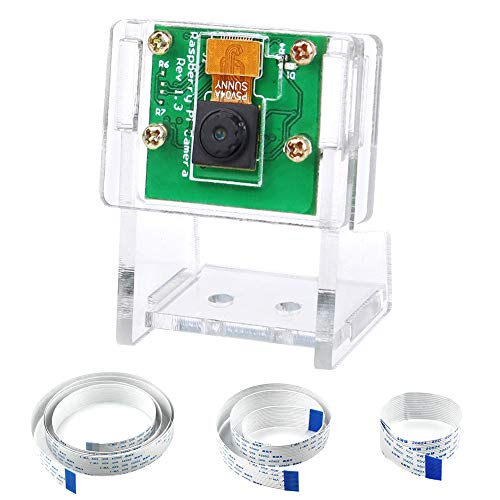 KeeYees Camera Módulo Webcam para Raspberry Pi con 3 Piezas 15 cm 50 cm 100 cm Cable Flexible, Carcasa Transparente