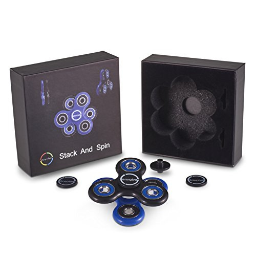 Envolve Due Spinner Set di Spinner impilabili, Il Fidget Spinner Stack And Spin (Nero/Blu): Due Spinner Inclusi, da Utilizzare singolarmente o da impilare, per la Tua concentrazione