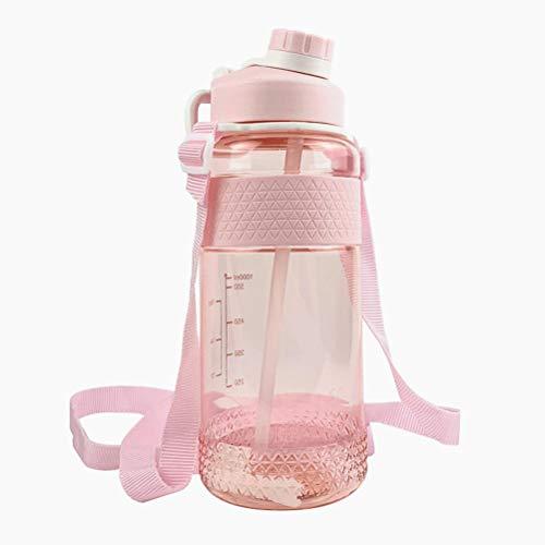 Prevessel Botella de agua deportiva con pajita, copa espacial, libre de BPA, 1 litro de alta capacidad, a prueba de fugas, con marcador de tiempo para la escuela, gimnasio, senderismo, bicicleta, yoga