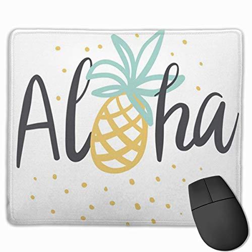 Muismat, bureau-muismat, muismat, zwarte tropische thee-belettering Aloha-Ananas op de witte stippen geel
