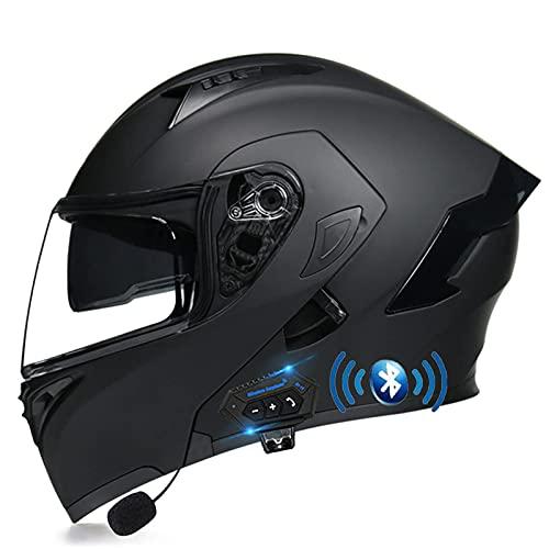 DXMRWJ Casco abatible para Motocicleta, Ligero, Integrado con Bluetooth, Modular, para Motocicleta, Casco Integral, Casco para Motocicleta Crash S con Doble Visera para Hombres y Mujeres Adultos, a