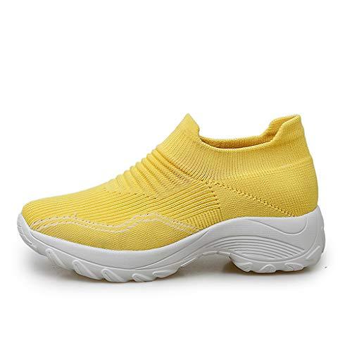 WggWy Calcetines De Tendencia De Moda, Zapatos Deportivos Casuales Zapatos De Pie Zapatos Casuales De Gran Tamaño con Colchón De Aire para Mujer Zapatos De Punta Redonda De Color Sólido,Amarillo,38