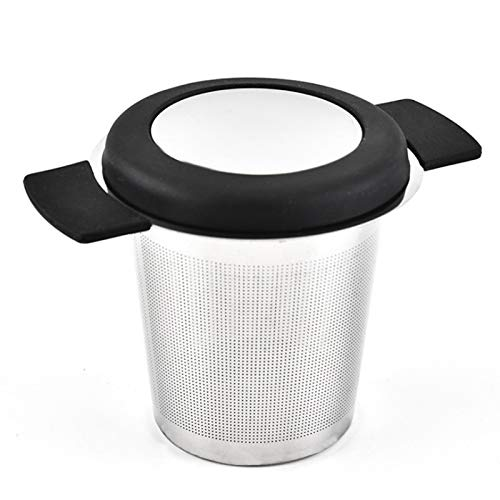 Extra Fine Mesh Tea Infuser Stainless Steel Tea Strainer Steeper for Loose Leaf Tea and Coffee Tea Filter with Large Capacity for Tea Cups Teapots Mugs Double Silicone Handles