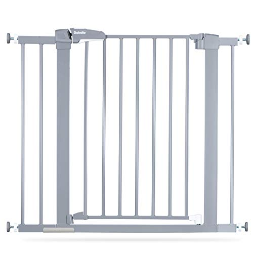 BABELIO Easy Install Extra Wide Pressure Mounted Metal Baby Gate No Drilling No Tools Required 2640 Inch with Wall Protectors and Extenders Ideal for Narrow or Wide Area Grey