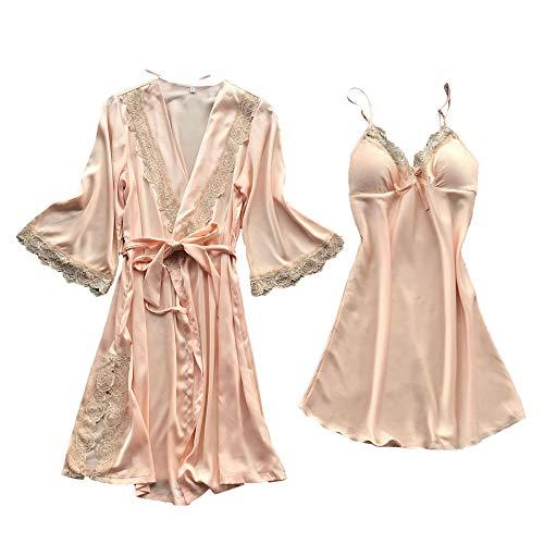 Señoras Pijamas Abrigos cinturón Vestido Conjunto Servicio a Domicilio de Dos Piezas Sling Sexy Corte de Seda de Deslizamiento Suave riou