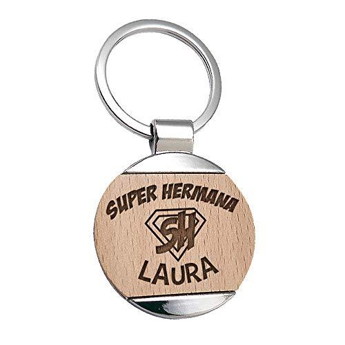 Llavero Hermana Nombre Personalizado Grabado sobre Madera - Llavero Personalizable Original Super Hermanas Superhermana Familia Regalo