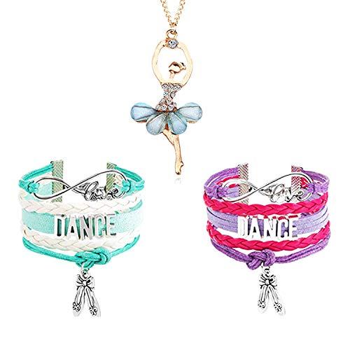 YouU 3 Pcs Dance Bracelet and Necklace- Girls Dance Jewelry - Pink Ballet Shoe Dance Bracelet for Dance Recitals Teen Girl (Blue) …