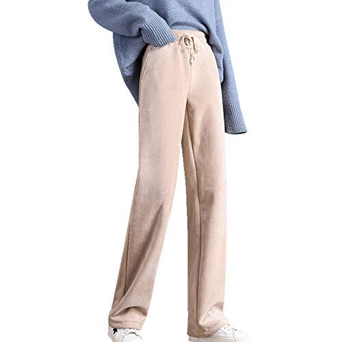N\P El otoño y el invierno de pana recta tubo pantalones de las mujeres de algodón elástico flor capullo cintura de ocio reducción de la edad de la pierna ancha pantalones de felpa