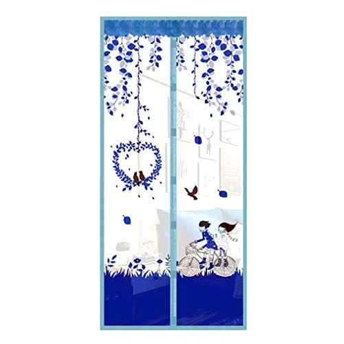 Wjmss Mosquitera magnética de la Puerta Neta Anti Volante Insecto Mosquito Pantalla de Puerta Anti-Mosquito Magnético Cortina de Malla para Puerta,Azul,90x210cm