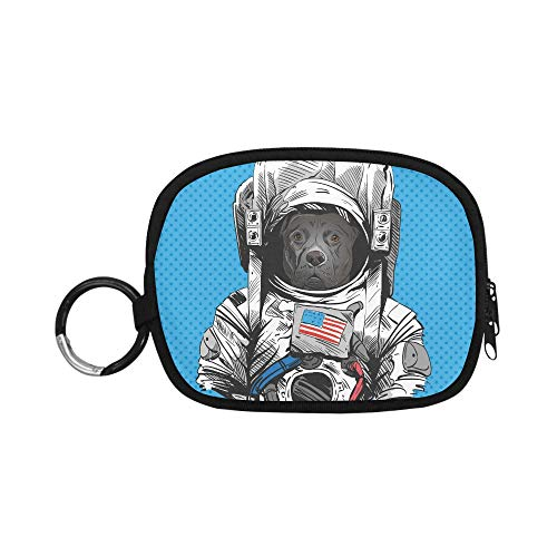 Mini Coin Pouch Staffordshire Bull Terrier Dog Astronaut Suit Coin Purses Simple Coin Purse Zipper With Keychain Ring For Girl Women Kids