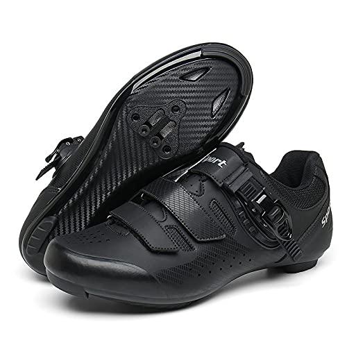 KUXUAN Zapatillas de Ciclismo Hombre Mujer Road SPD Bike Zapatillas de Ciclismo Cordón de Zapatos Compatible con los Pedales Look Delta,Black-37EU