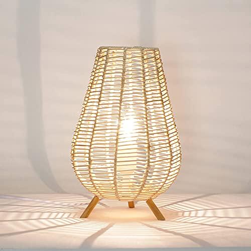 Nathye - Lámpara de mesa (29 cm, E14), diseño de cesta