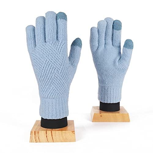 UKKO Guanti Donna Moda Donna Uomo Inverno Cashmere Protezione A Freddo A Doppio Strato Ispessimento Caldo Touch Screen A Maglia-Light Blue,One Size