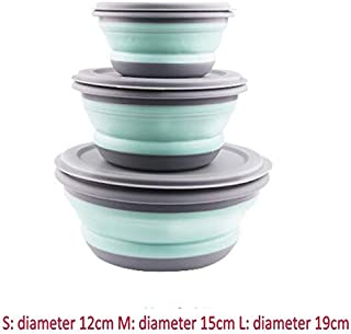 Dinnerware | 3Pcs /Set Travel Portable Silicone Folding Bowl Lunch Box Children Adult Travel Outdoor Tableware With Lid |Cookie Cutter | By CLAIRE