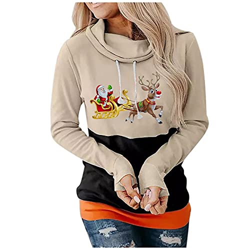 Women Snowman Shirt Christmas Fall Tunic Cute Elk Graphic Pullover Long Sleeve Blouse Contrasting Colors Tops Beige