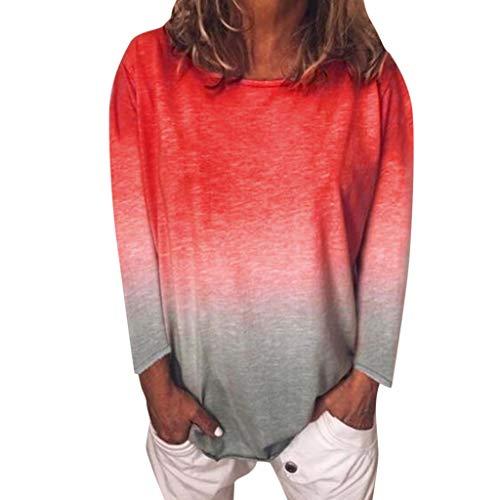 Damen Casual Tops Hemdbluse Damenbluse Shirtbluse,Einfarbiges T-Shirt mit Rundhalsausschnitt Frauen Casual Farbverlauf Langarm T-Shirt Tunika Bluse Top S-5XL