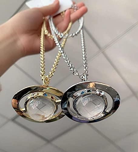 MIKUAJ collarCollar de Cristal Saturno para Mujer joyería de Boda Cadena de suéter de Estilo de Lujo para niñas joyería de Moda